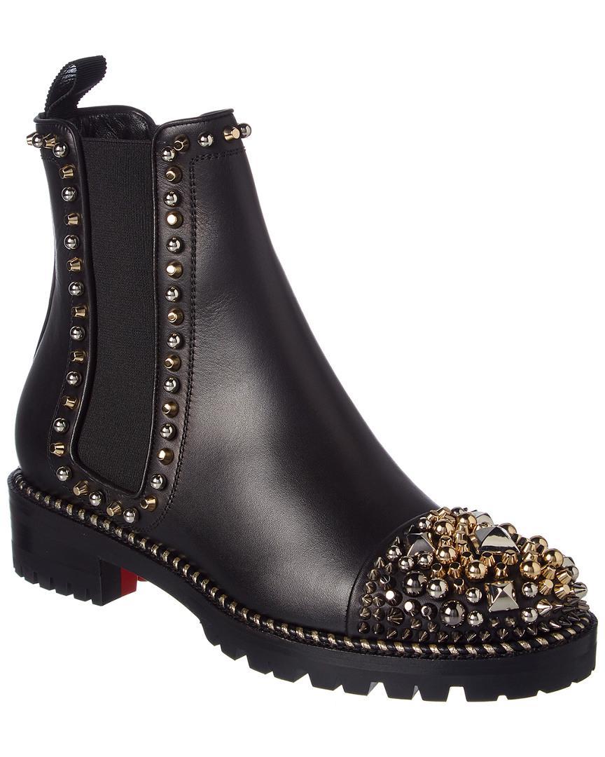 the latest 8a465 0e7d0 Christian Louboutin Black Flat Booties Shoes Women