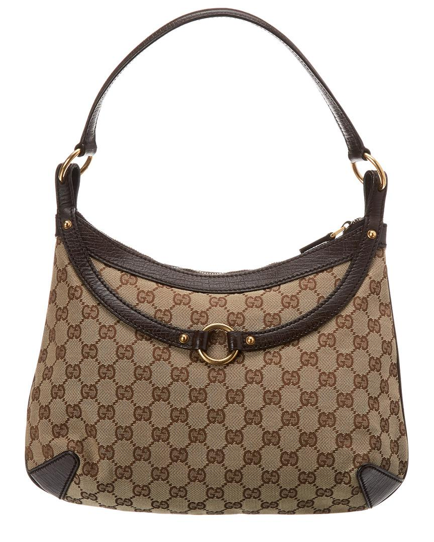 Gucci Brown GG Canvas   Leather Horsebit Hobo in Brown - Lyst 71bde14106b3c