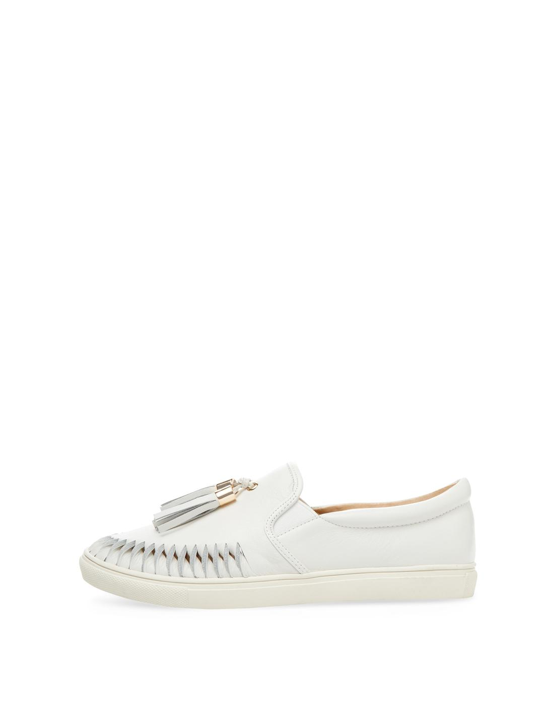 Pure Navy Cheyenne Leather Slip-on Sneaker in White