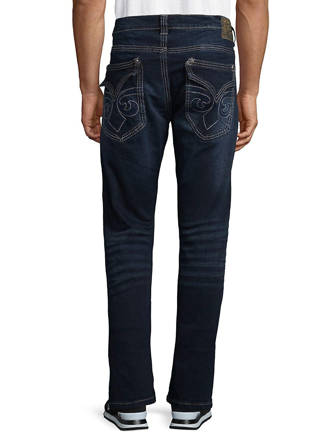 Affliction Denim Distressed Straight Jeans in Blue for Men