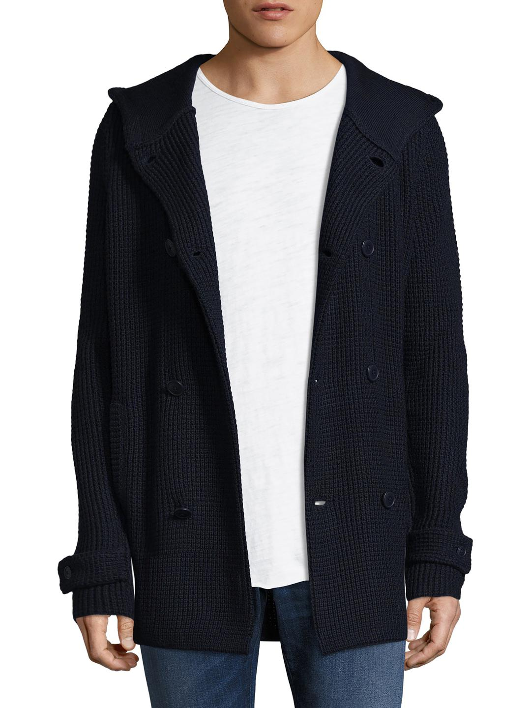 Armani exchange Textured Hooded Cardigan in Blue for Men | Lyst