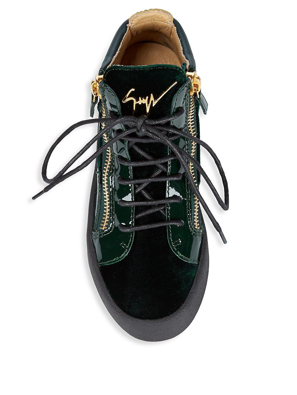 Giuseppe Zanotti Velvet And Patent Mid-top Sneakers in Green