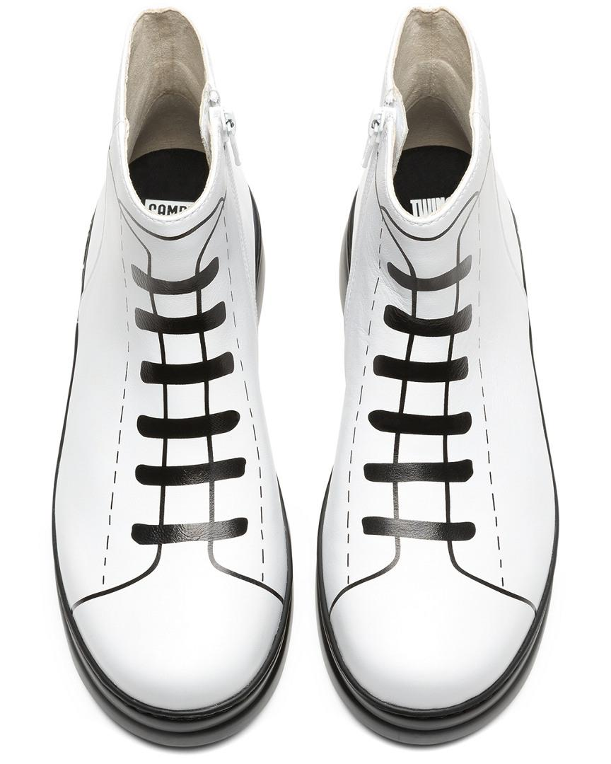 Camper Leather Twins Sneakers in White Natural (White)