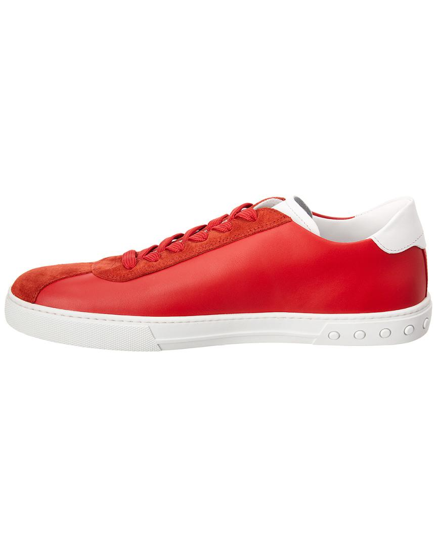 Tod's Logo Applique Leather Sneaker in Red for Men