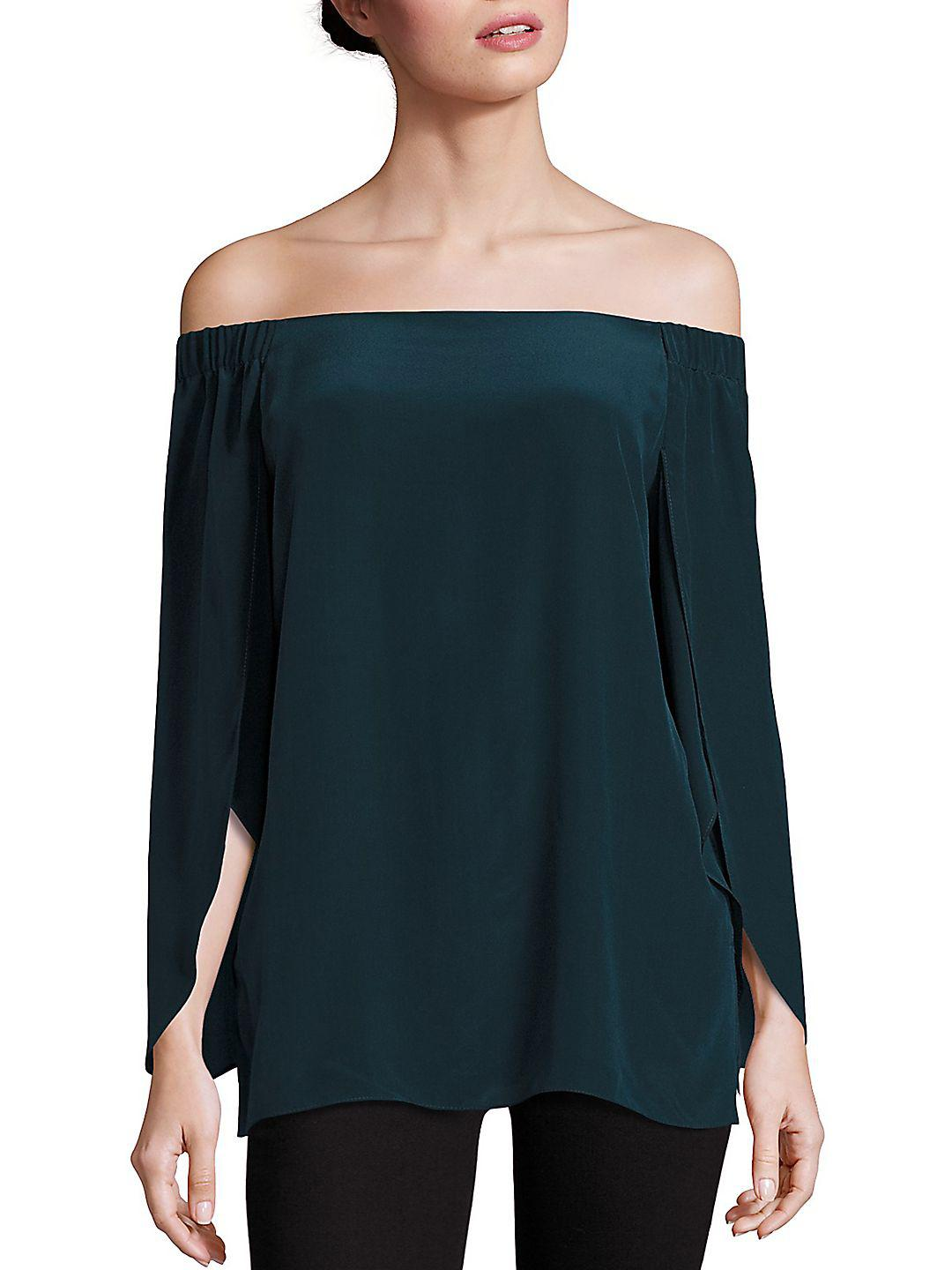 Bailey 44 Silk Trainspot Off-the-shoulder Top in Black