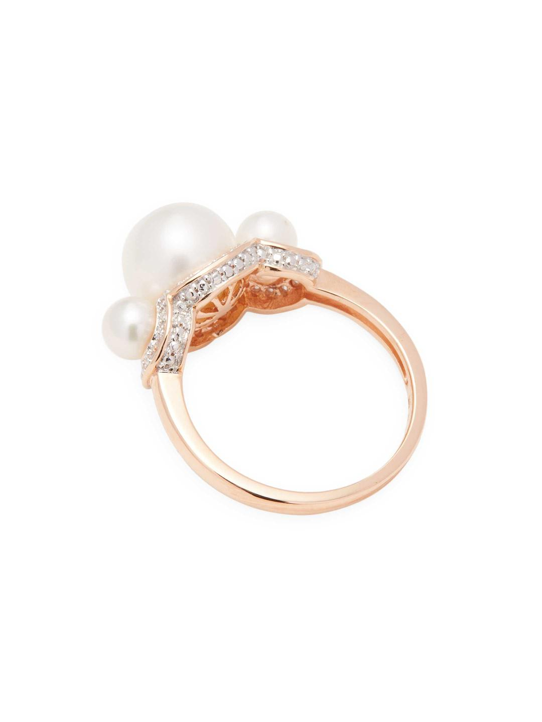 Rina Limor 10k Rose Gold Freshwater Cultured Pearl 3-stone Ring With Diamond Halo