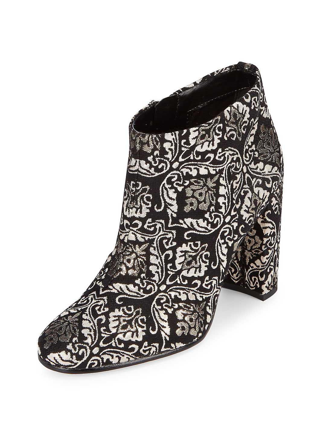 8fea289d65834 Lyst - Sam Edelman Cambell Floral Leather Booties in Black