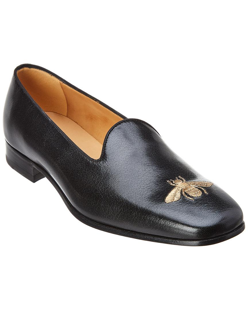 1777b067ca97 Lyst - Gucci Bee Leather Loafer in Black for Men
