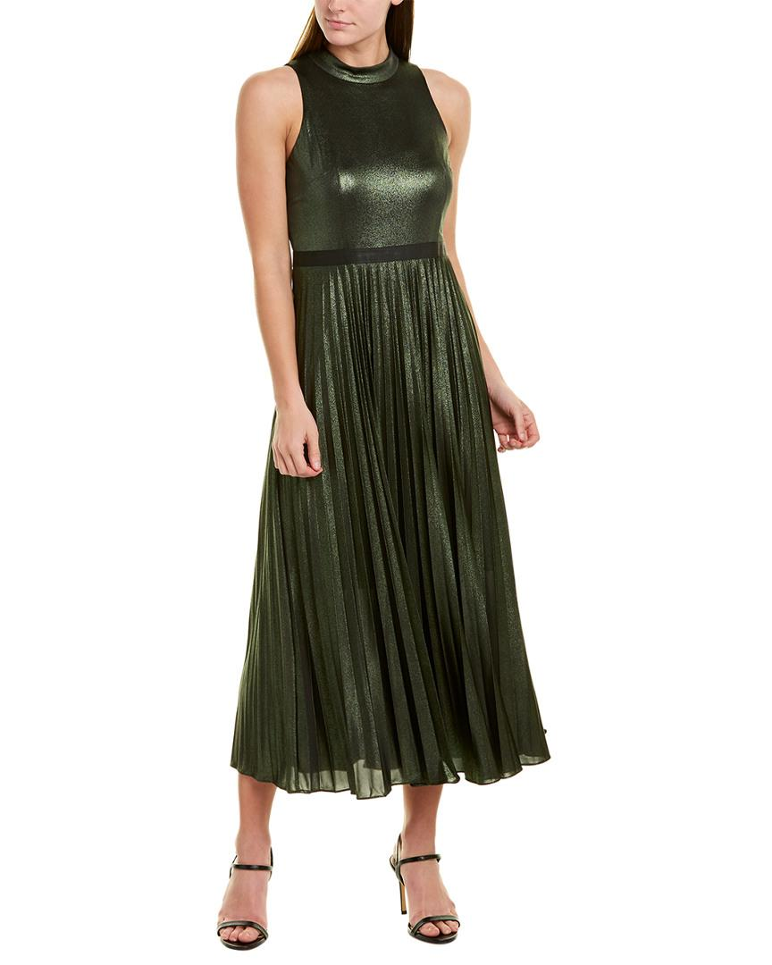Donna Morgan Womens Elastic-Waist Wide-Pleat Dress
