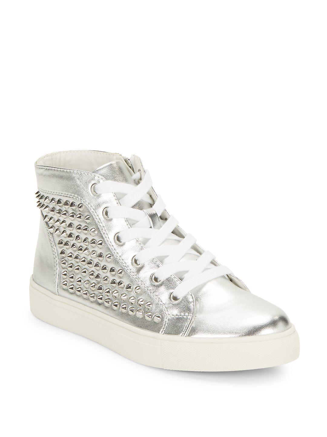 Steve Madden Levine Studded High-top Sneakers in Silver (Metallic)