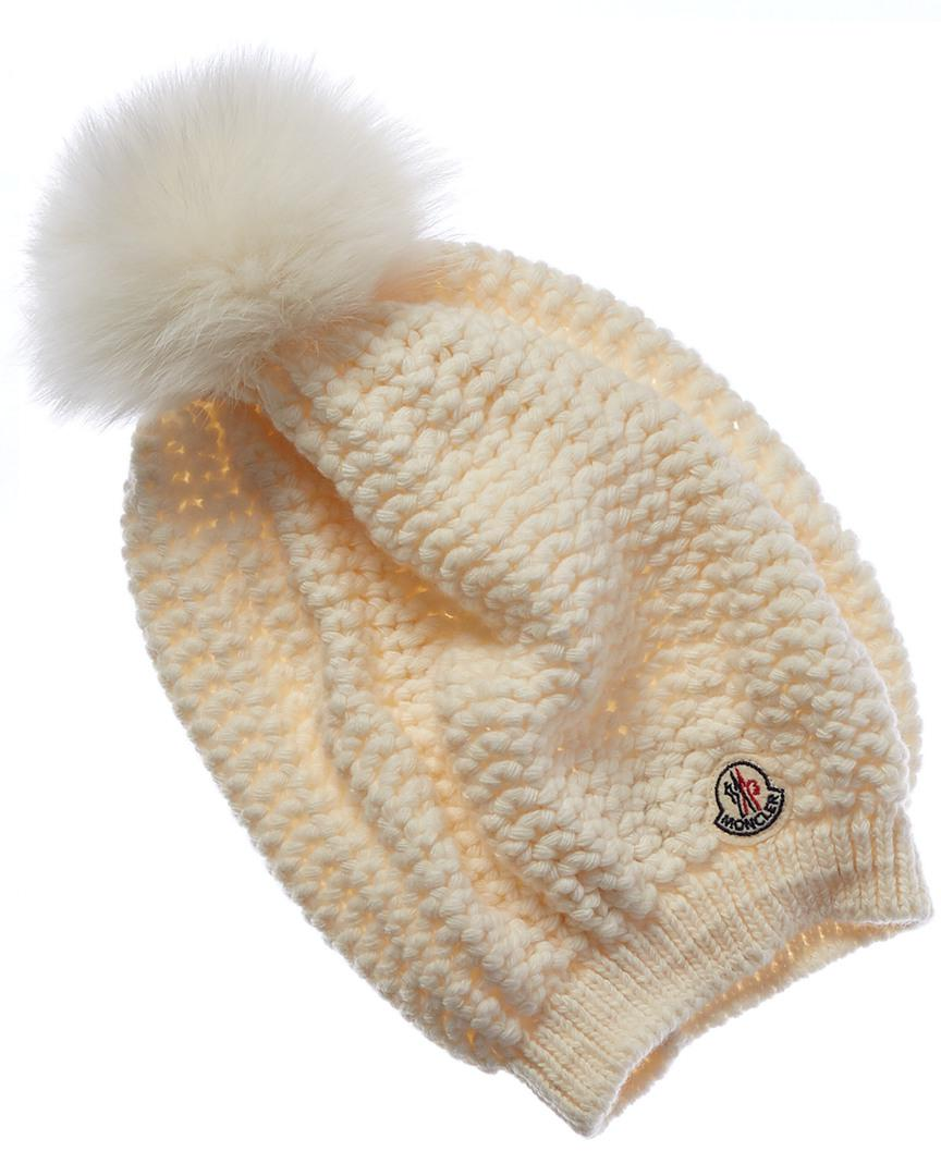 7369b17caaf Lyst - Moncler Bobble Top Wool   Cashmere-blend Beanie in White