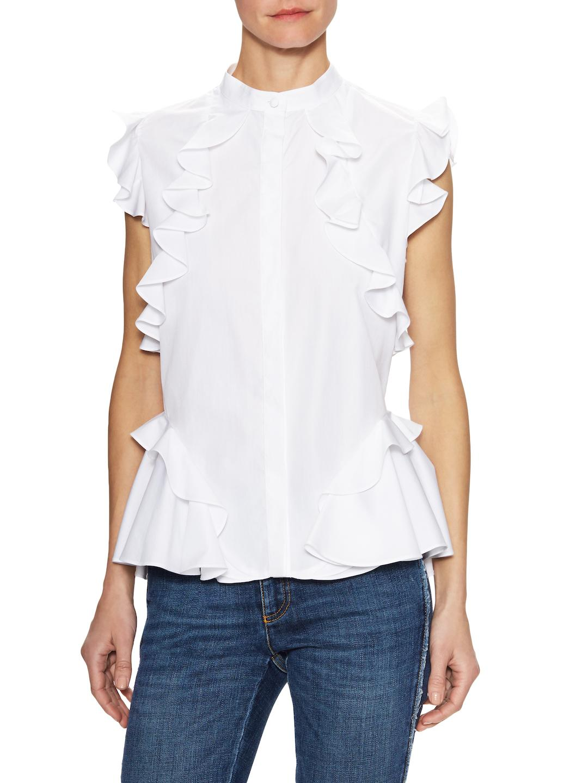 mandarin collar peplum shirt - White Alexander McQueen 0zmkB