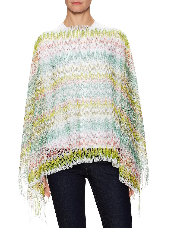 ed85c1355a63b Missoni Crochet Fringe Trimmed Poncho in Green - Lyst