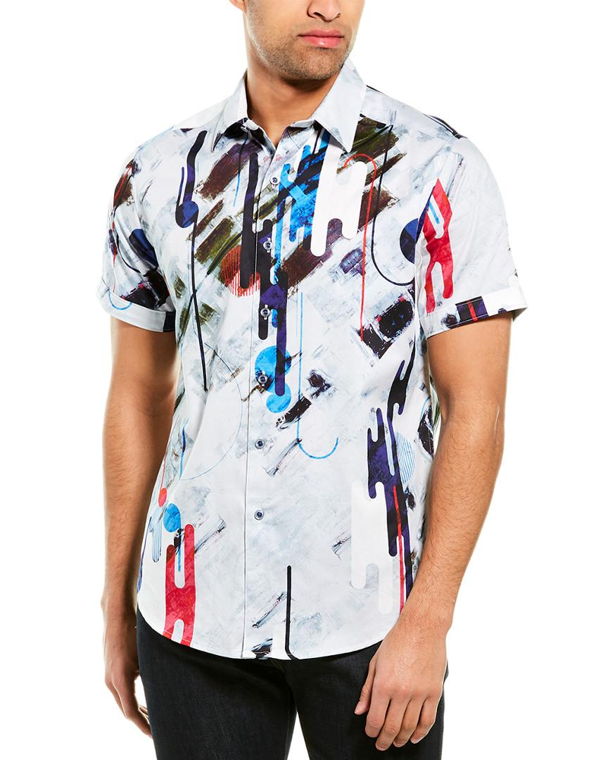 Robert Graham Mens Paladin Short Sleeve Slim Fit Shirt