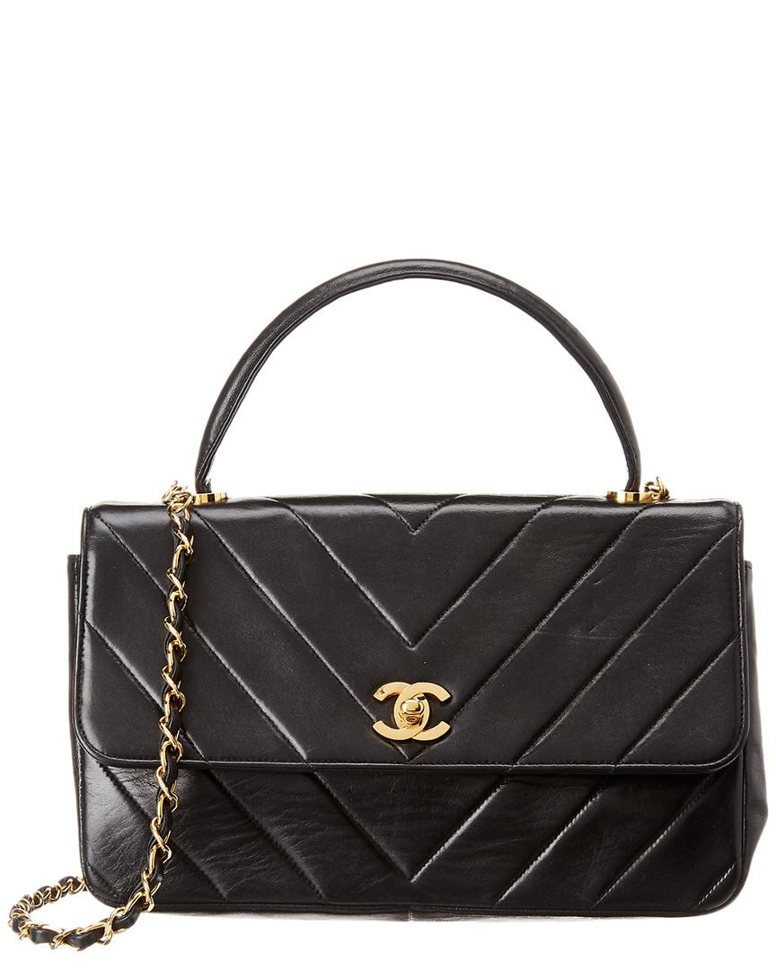 Lyst - Chanel Black Lambskin Leather Top Handle Flap Bag in Black 6612ab2ce8ac9