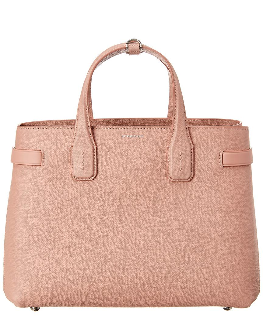 06692cbe4e6f Lyst - Burberry Medium Banner Vintage Check   Leather Tote in Pink