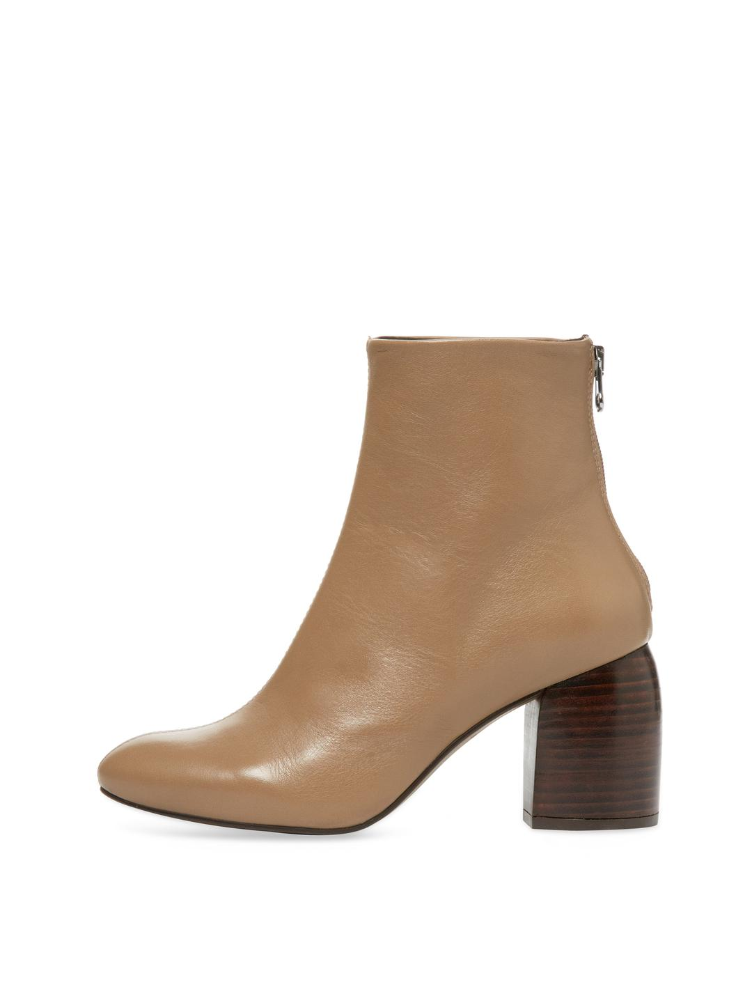 Pure Navy Leather Bootie in Taupe (Brown)