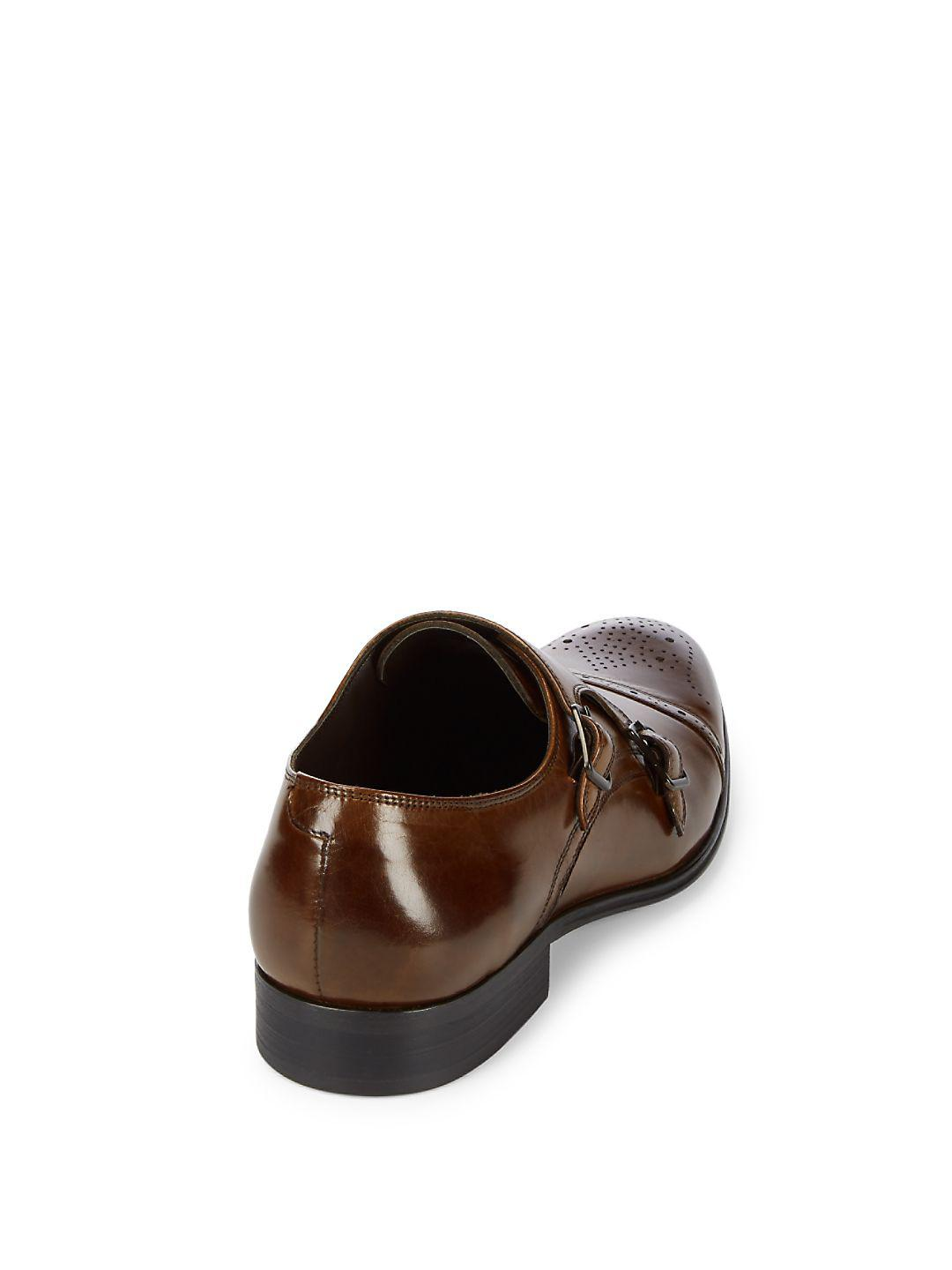 Kenneth Cole Double Monk-strap Leather Dress Shoes in Cognac (Brown) for Men