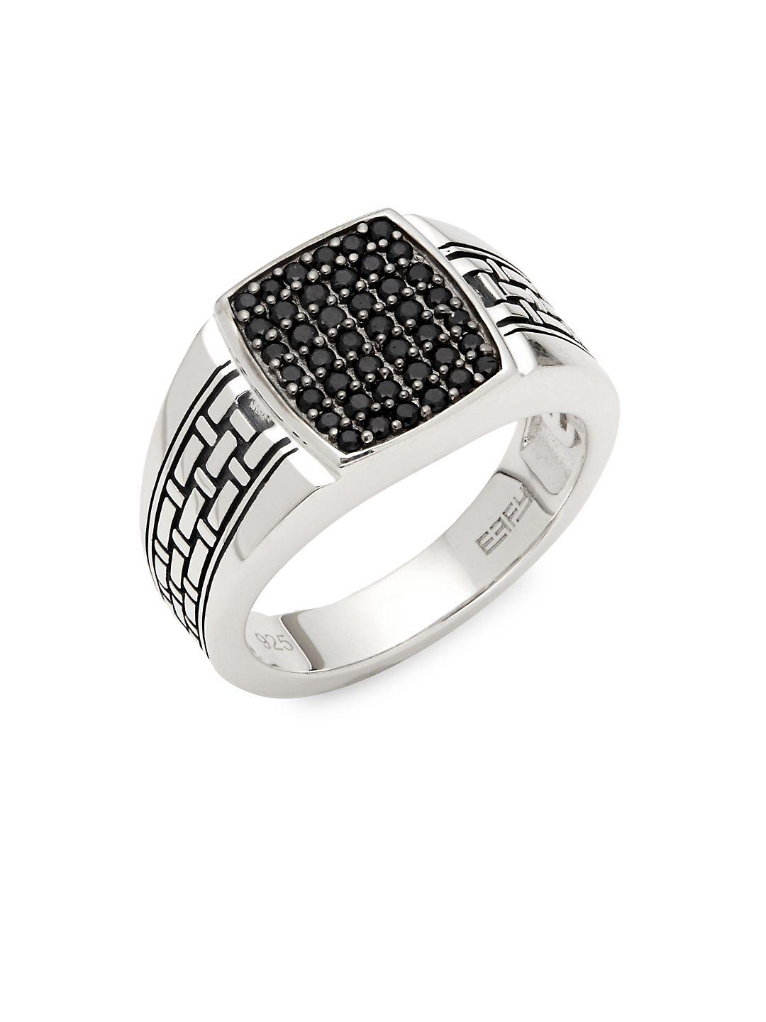 Effy Black Sapphire & Sterling Silver Ring in Metallic