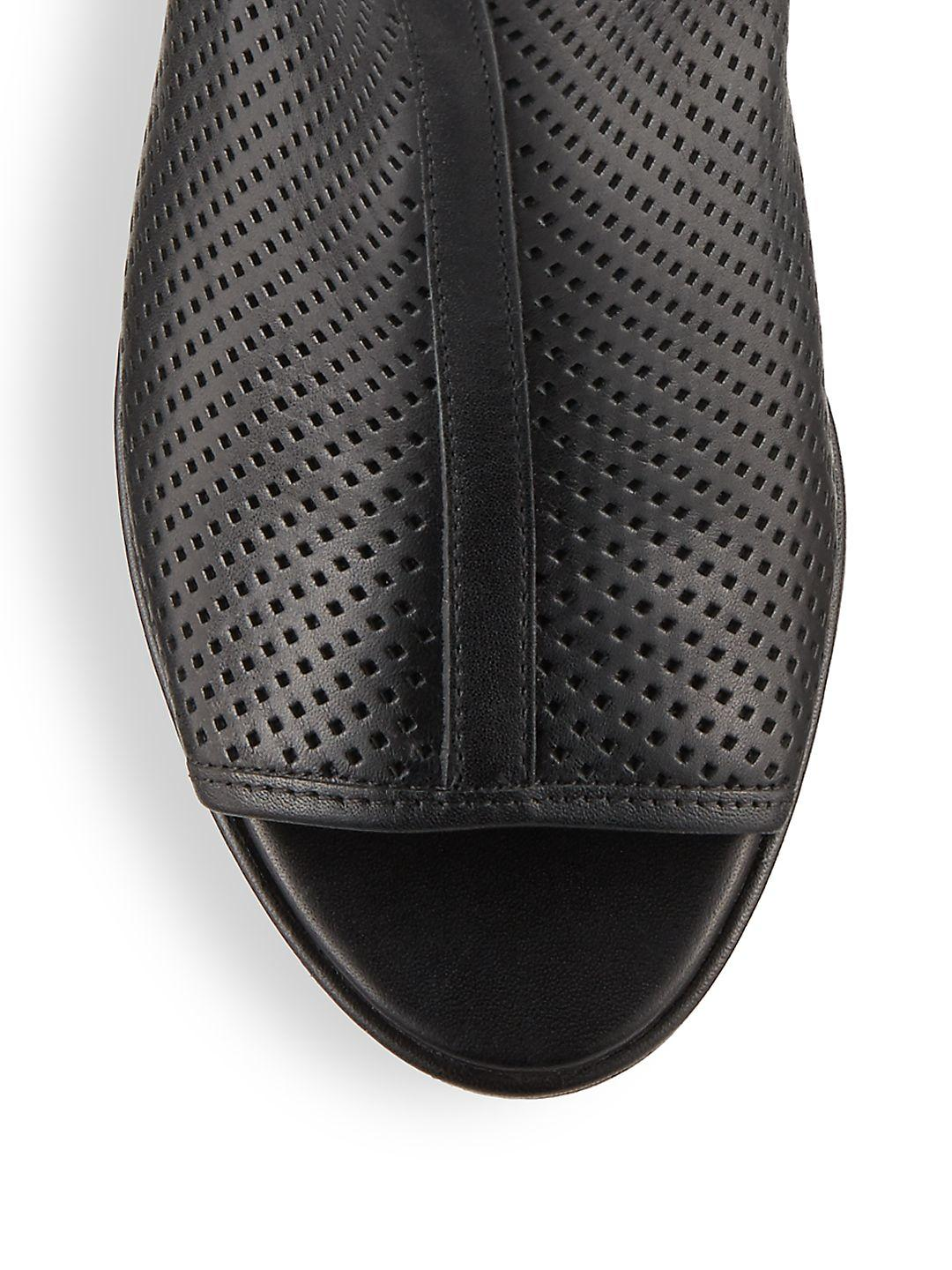 Kenneth Cole Leather Charlo Perforated Ankle Boots in Black