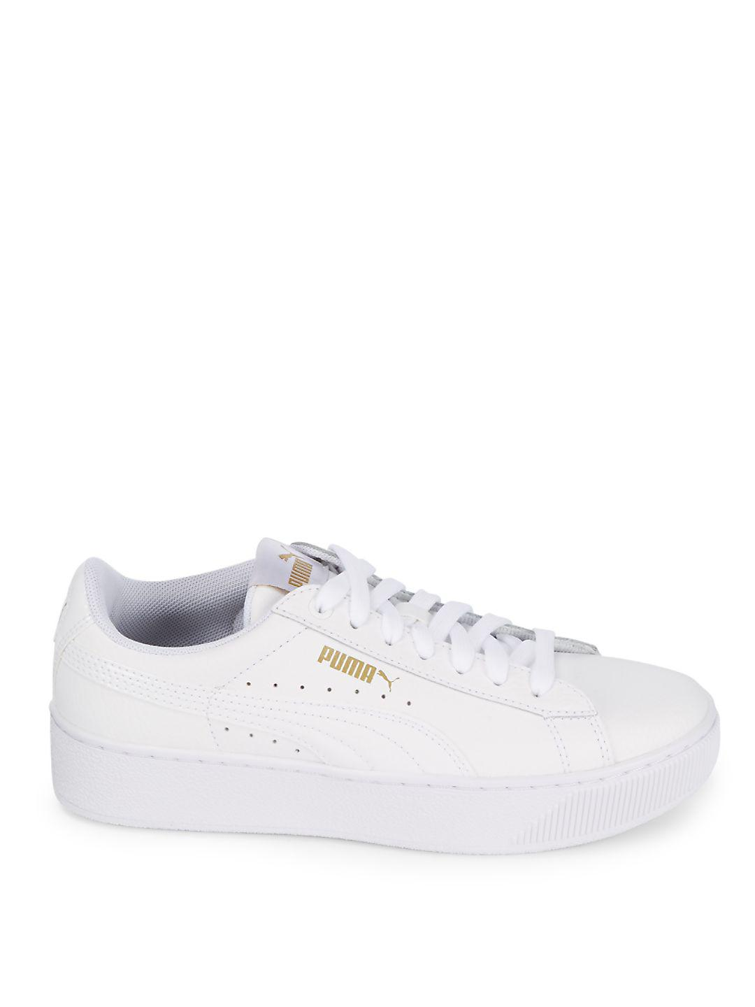 PUMA Leather Lace-up Round Toe Sneakers