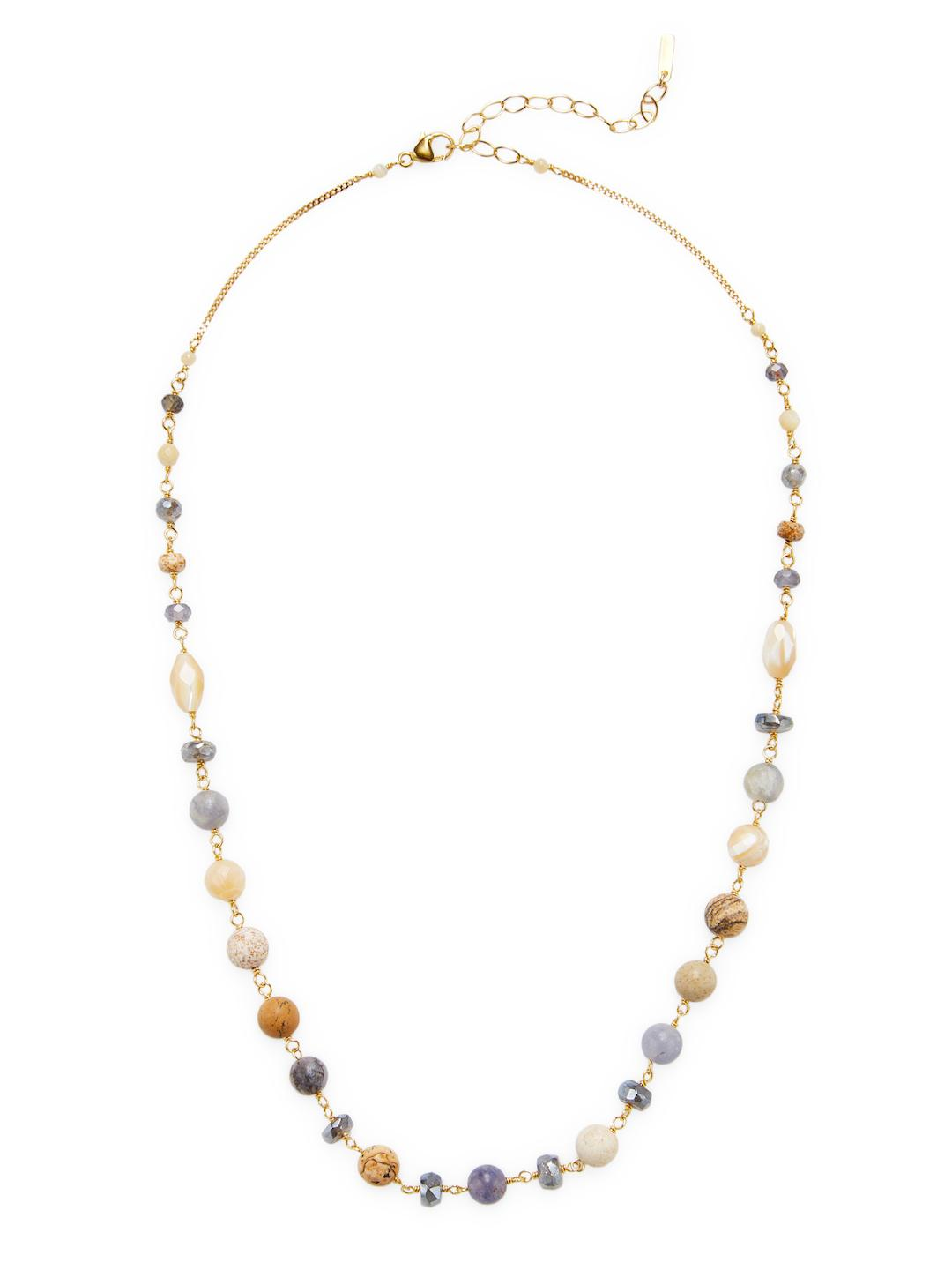 Chan Luu 18K Gold Plated Fringe Necklace with Semi Precious Stones (Iolite Mix) Necklace vHOyh