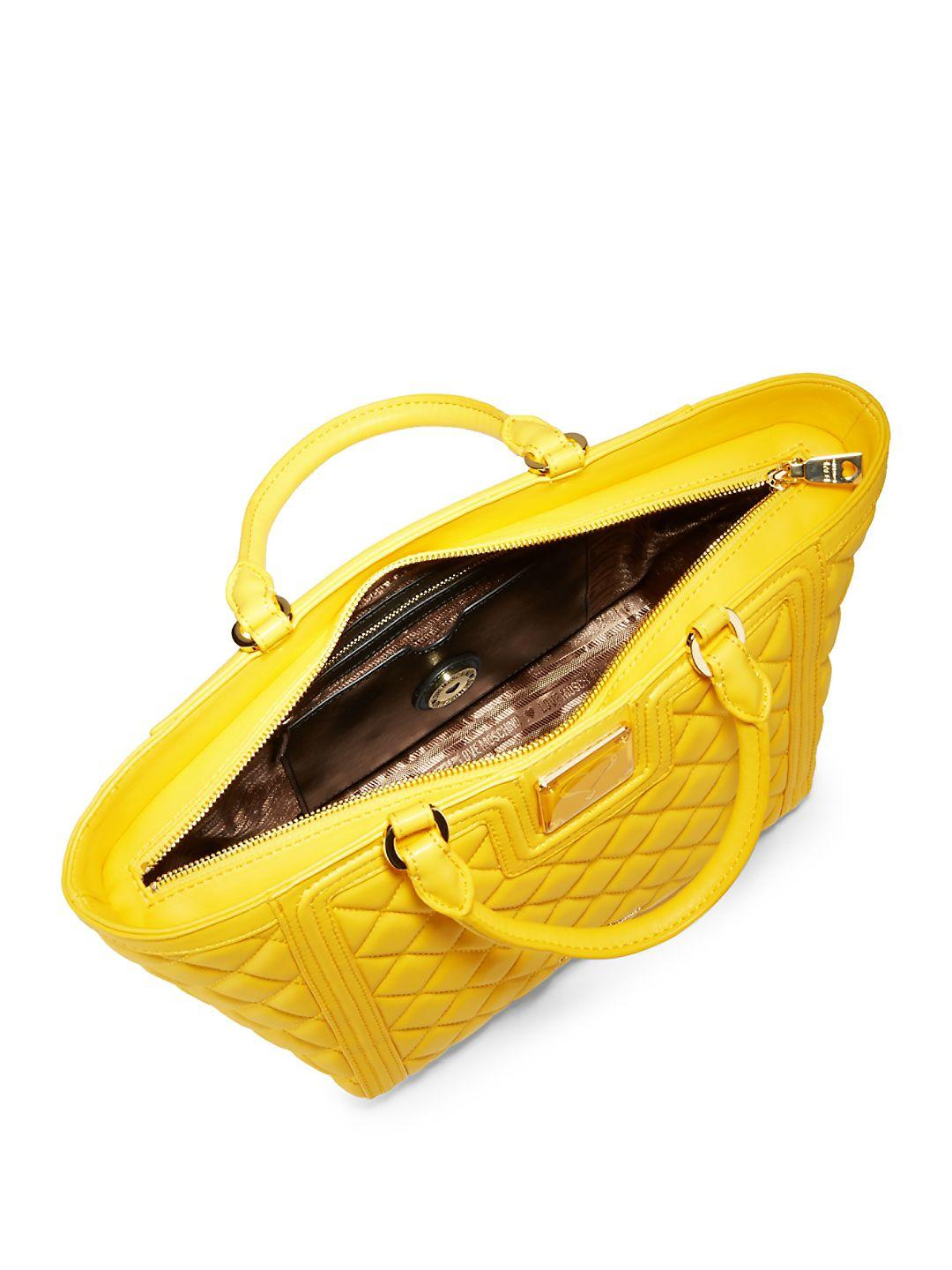 Love Moschino Large Quilted Tote Bag in Yellow