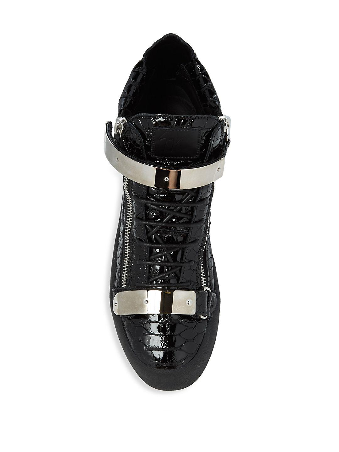 Giuseppe Zanotti Textured Leather Sneakers in Black