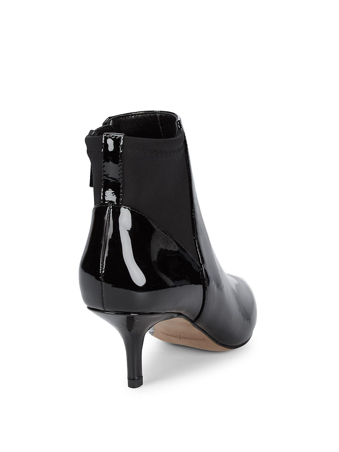 Donald J Pliner Synthetic Patent Point Toe Booties in Black