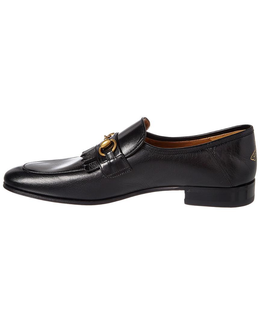 970fb5c24f0 Gucci Leather Fringe Horsebit Loafer in Black for Men - Save 14% - Lyst
