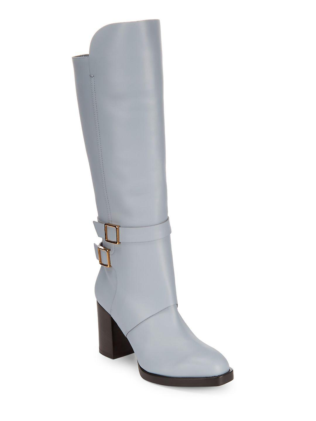 Tod's Buckle Leather Knee-high Boots in Light Blue (Blue)