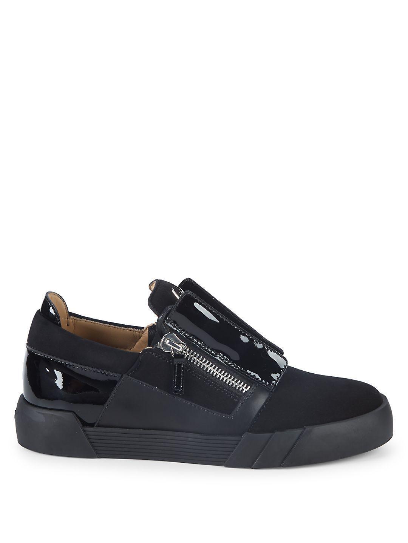 Giuseppe Zanotti Zip Leather Sneakers in Black