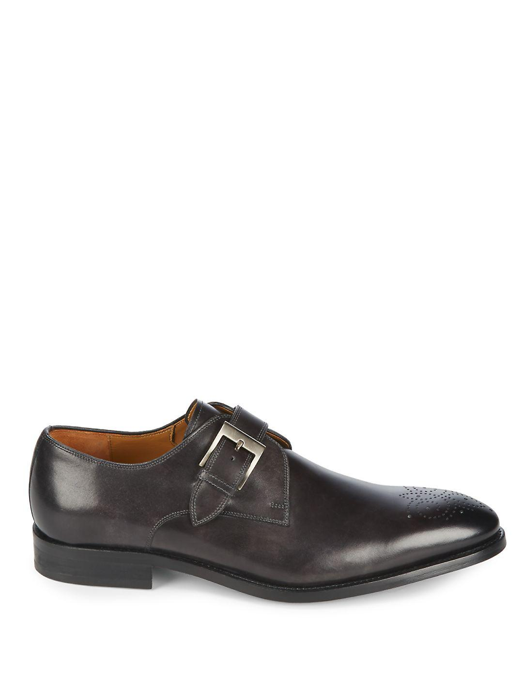 Magnanni Single Monk-strap Leather Derbys in Black for Men