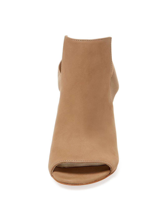 Stuart Weitzman Leather Fronton Nubuck Slingback Bootie in Light Brown (Brown)