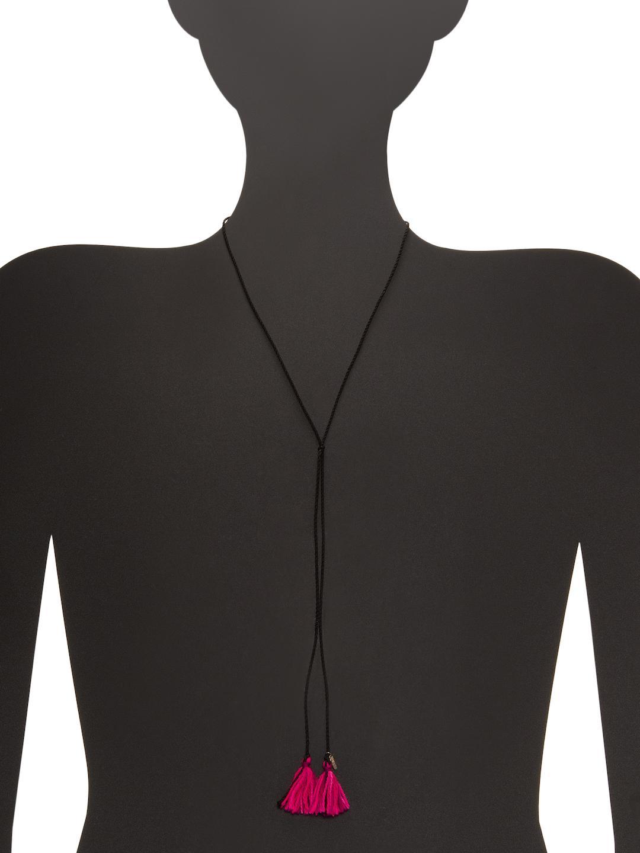 Dezso by Sara Beltran Tasseled Lariat Necklace in Black