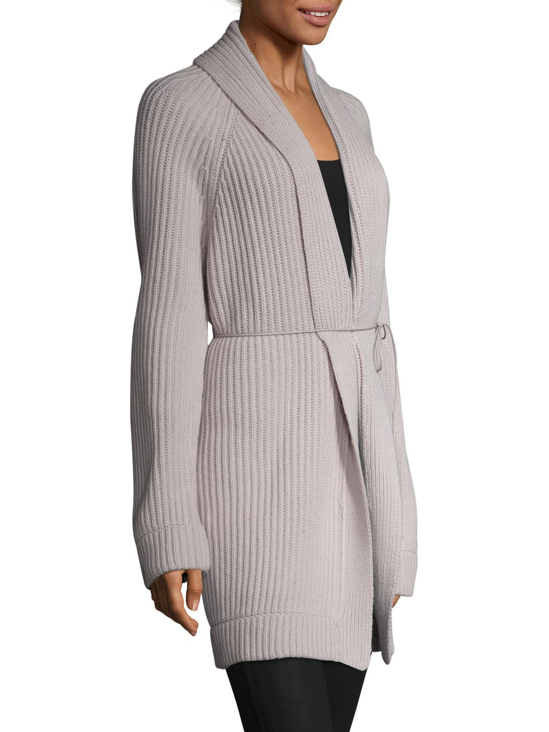 Helmut lang Wool Cashmere Ribbed Self Tie Cardigan in Gray | Lyst
