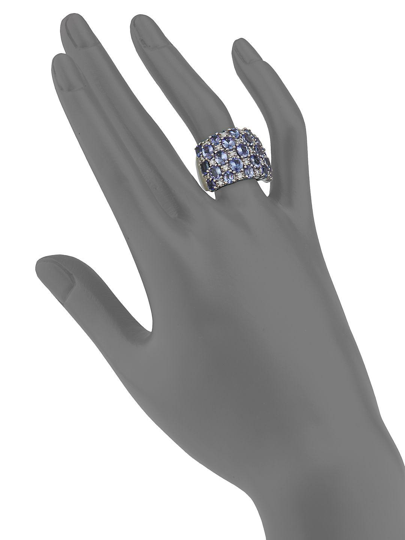 Effy Diamond & 14k White Gold Midi Ring in Metallic