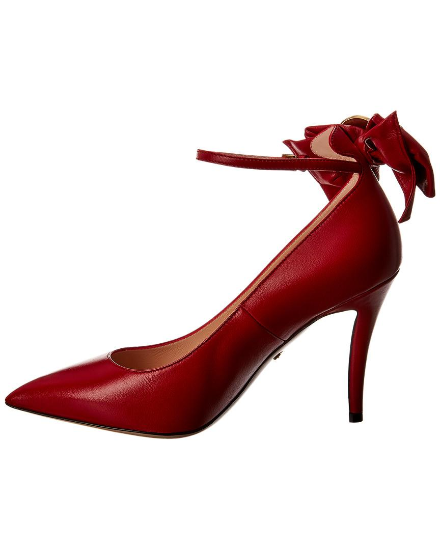 a36918d4186 Gucci Queen Margaret Ankle Strap Leather Pump in Red - Lyst