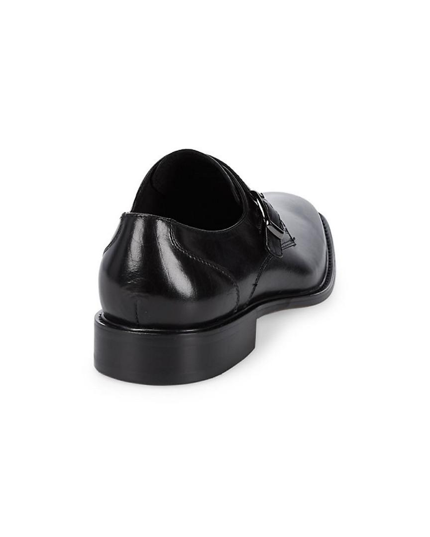 Zanzara Leather Monk Straps in Black for Men