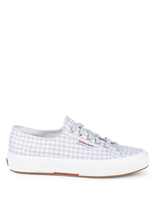 Superga Gingham Canvas Platform Sneakers in Grey (Grey)