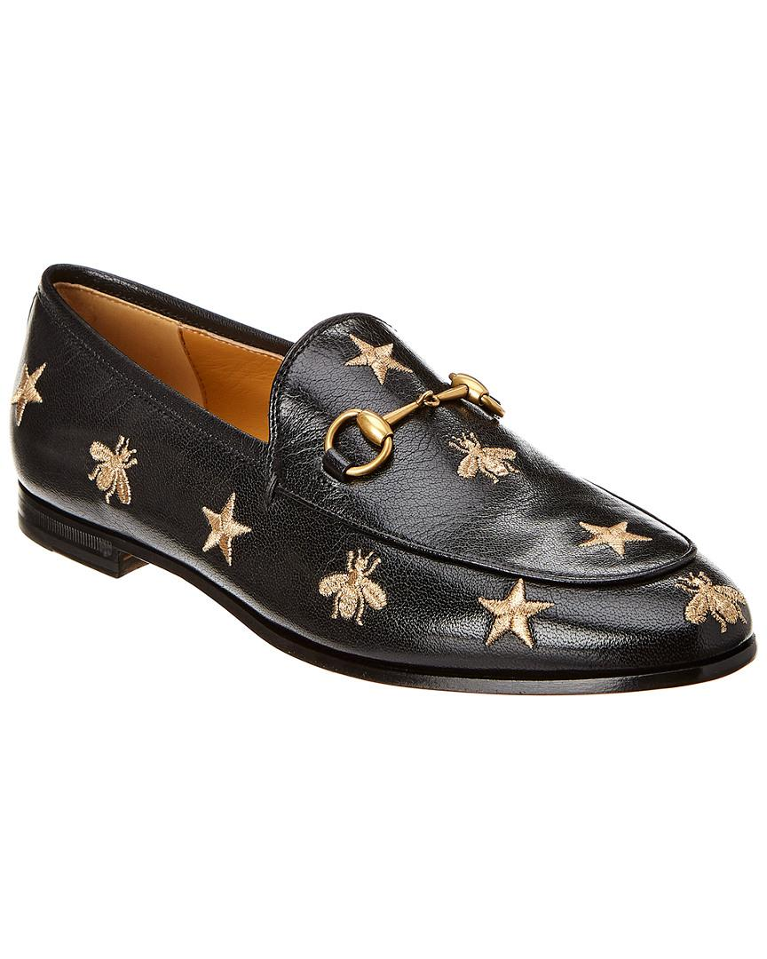 Gucci Jordaan Embroidered Bee Leather