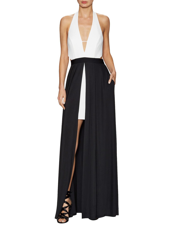 Lyst - Abs By Allen Schwartz Deep V Overlay Skirt Ball Gown in Black