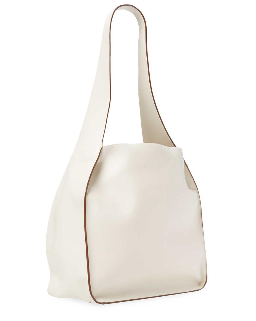 Stella McCartney Leather Perforated Logo Tote in White
