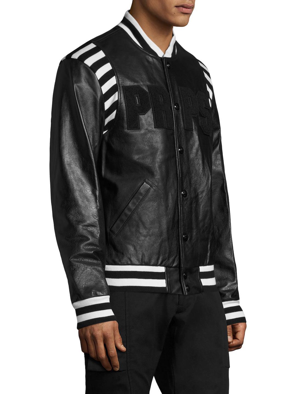 PRPS Metallurgy Leather Bomber Jacket in Black for Men