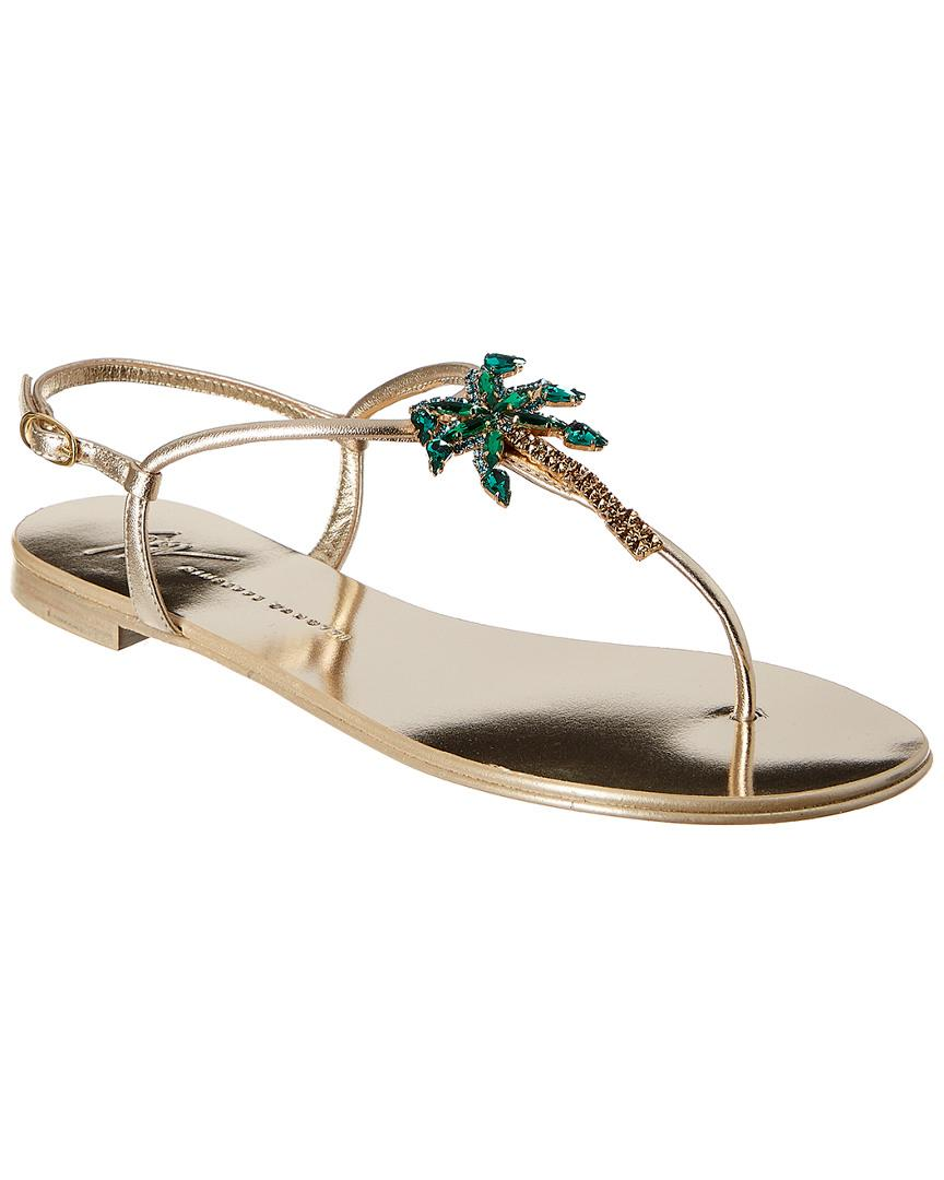 d2a468a7a170c6 Lyst - Giuseppe Zanotti Embellished Leather Sandal in Metallic