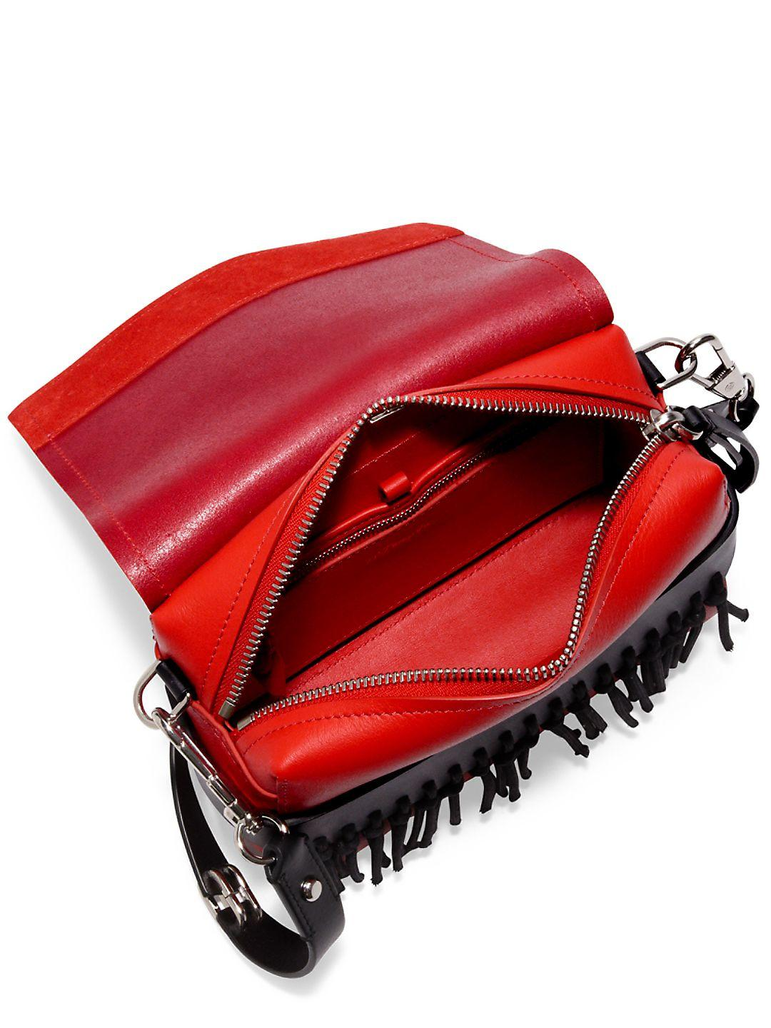 3.1 Phillip Lim Leather Bianca Rosso Small Flap Crossbody W/fringe in Red (Black)