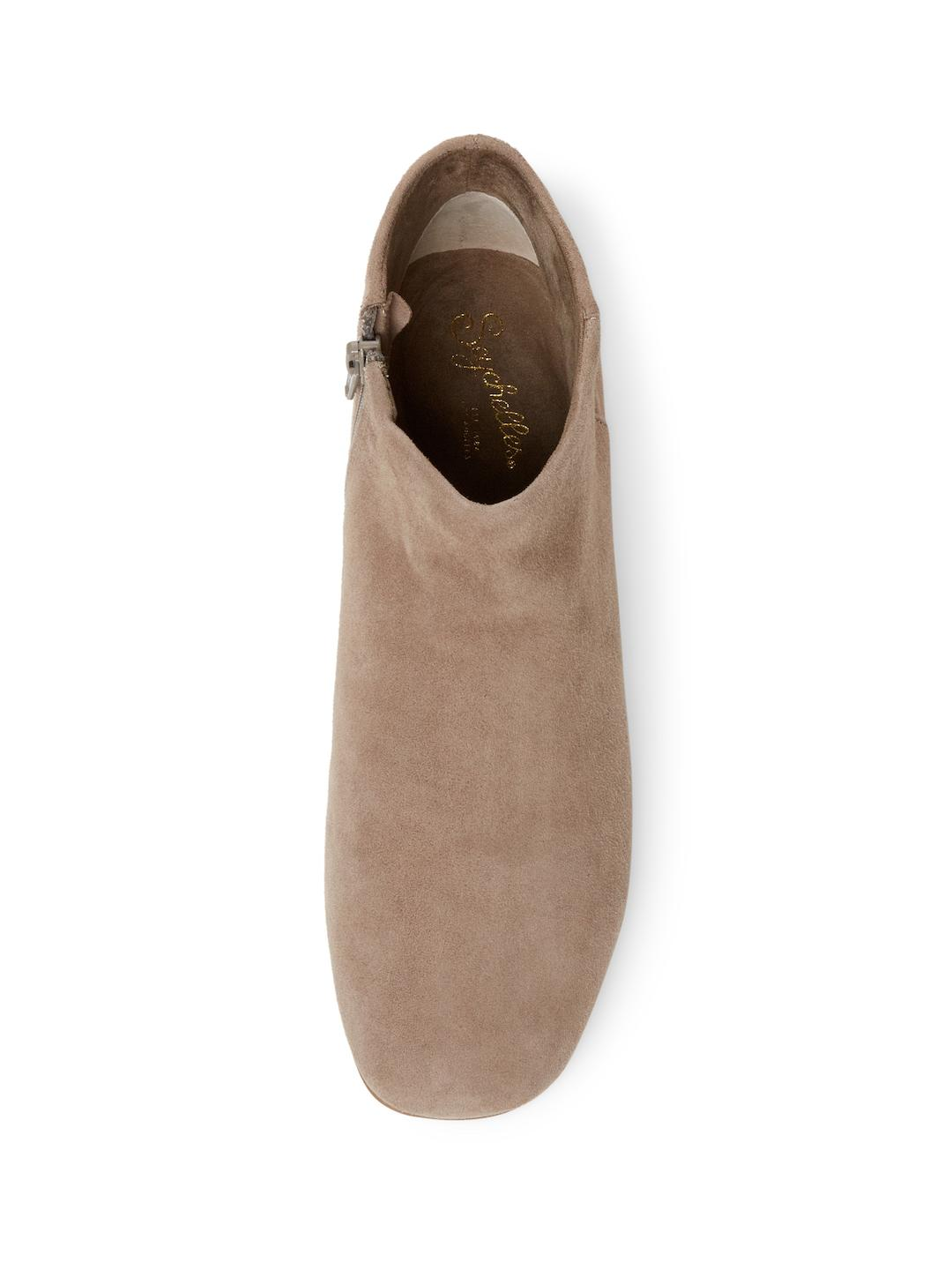 Seychelles Leather Fauna Low Heel Bootie in Taupe Suede (Brown)