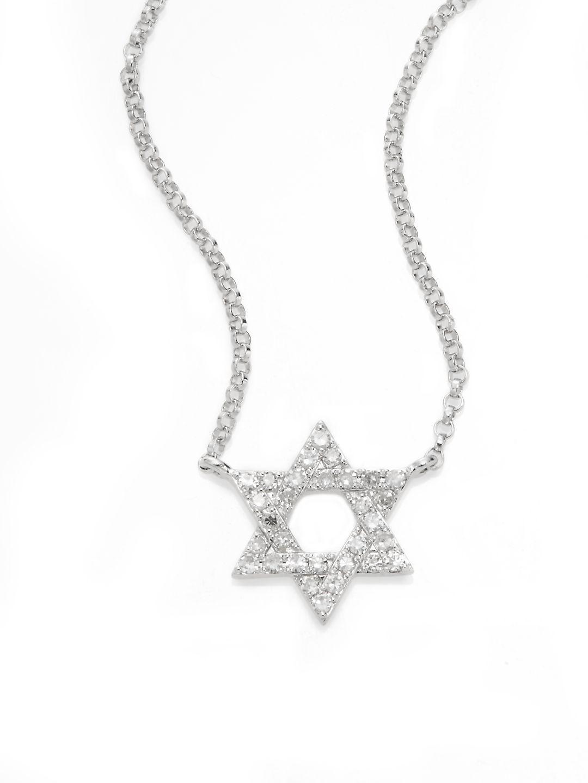 Lyst effy diamond 14k white gold star of david pendant necklace effy womens metallic diamond 14k white gold star of david pendant necklace aloadofball Images