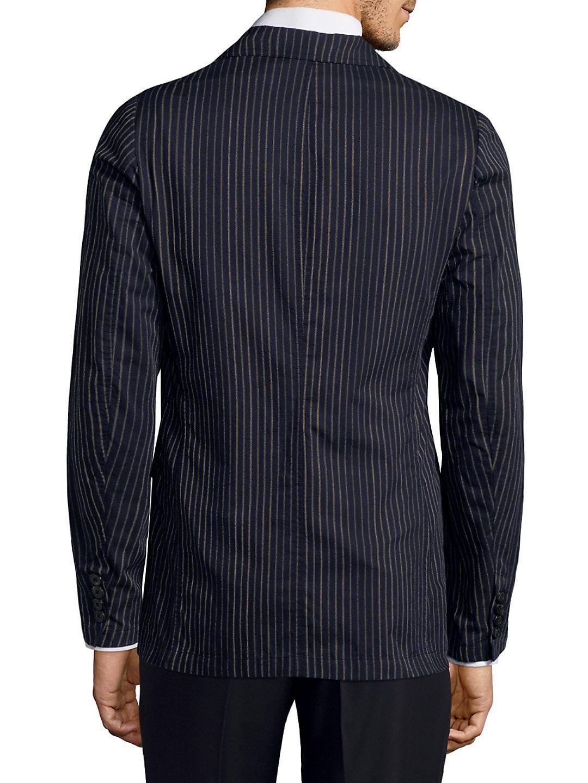Dries Van Noten Pinstripe Wool Jacket in Navy (Blue) for Men