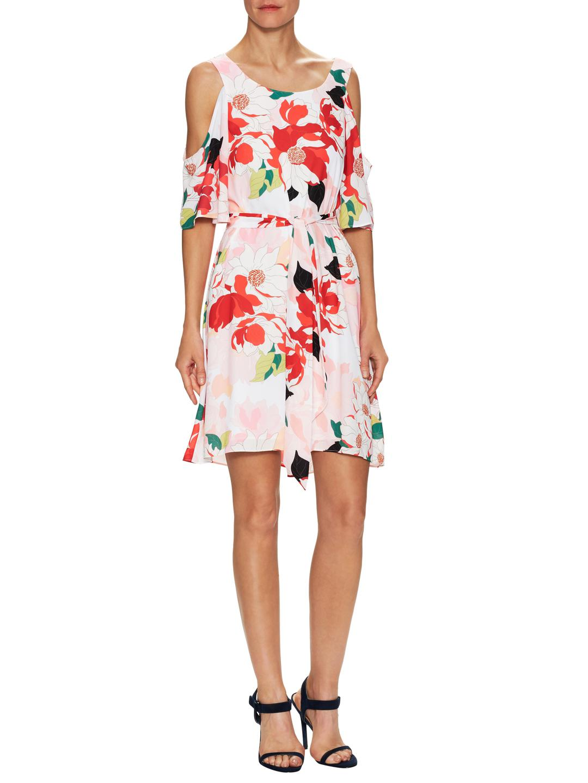 Cold-Shoulder Floral Cocktail Sheath Dress Donna Ricco Buy Cheap Recommend sXiA43Ou